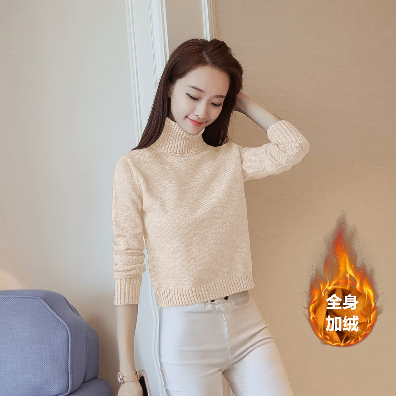 Small fresh sweater womens slim sweet high neck Plush warm high waist short short short style foreign style bottomed T-shirt