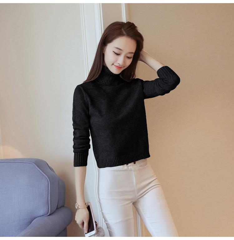 Fashionable high waisted short sweater women fashion high collar thickened Lapel winter bottom coat wear versatile individual sweater
