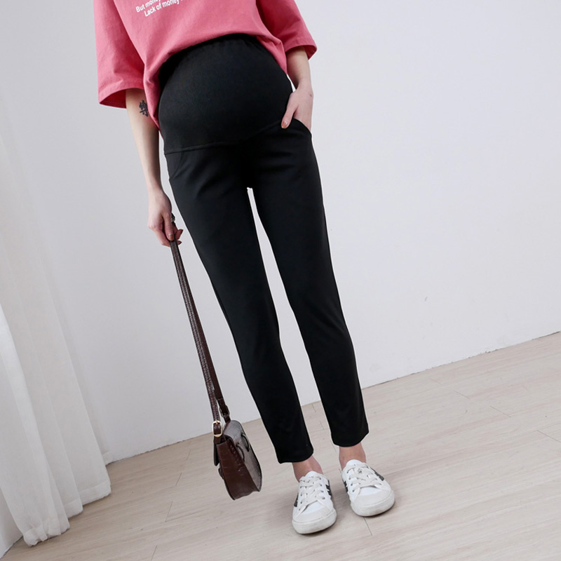 Pregnant womens spring and autumn clothes lengthened extra large pregnant womens pants 200kg extra large elastic abdominal pants 300kg