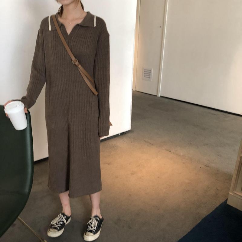 乌77坑条纹简约针织裙韩版连衣裙满98.00元可用9元优惠券