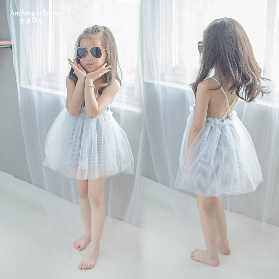 2020 medium and small girls striped Tulle breathable and comfortable princess skirt dress suspender skirt beach skirt holiday dress