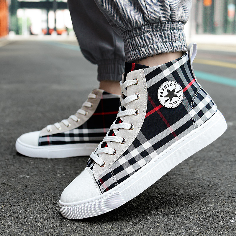 Hong Kong Style Mens 2020 new high top shoes versatile small white shoes Korean mens fashion shoes sports casual shoes board shoes