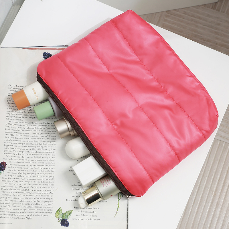 New years down jacket fabric Large Cosmetic Bag hand bag womens cotton skin care bag portable travel storage bag