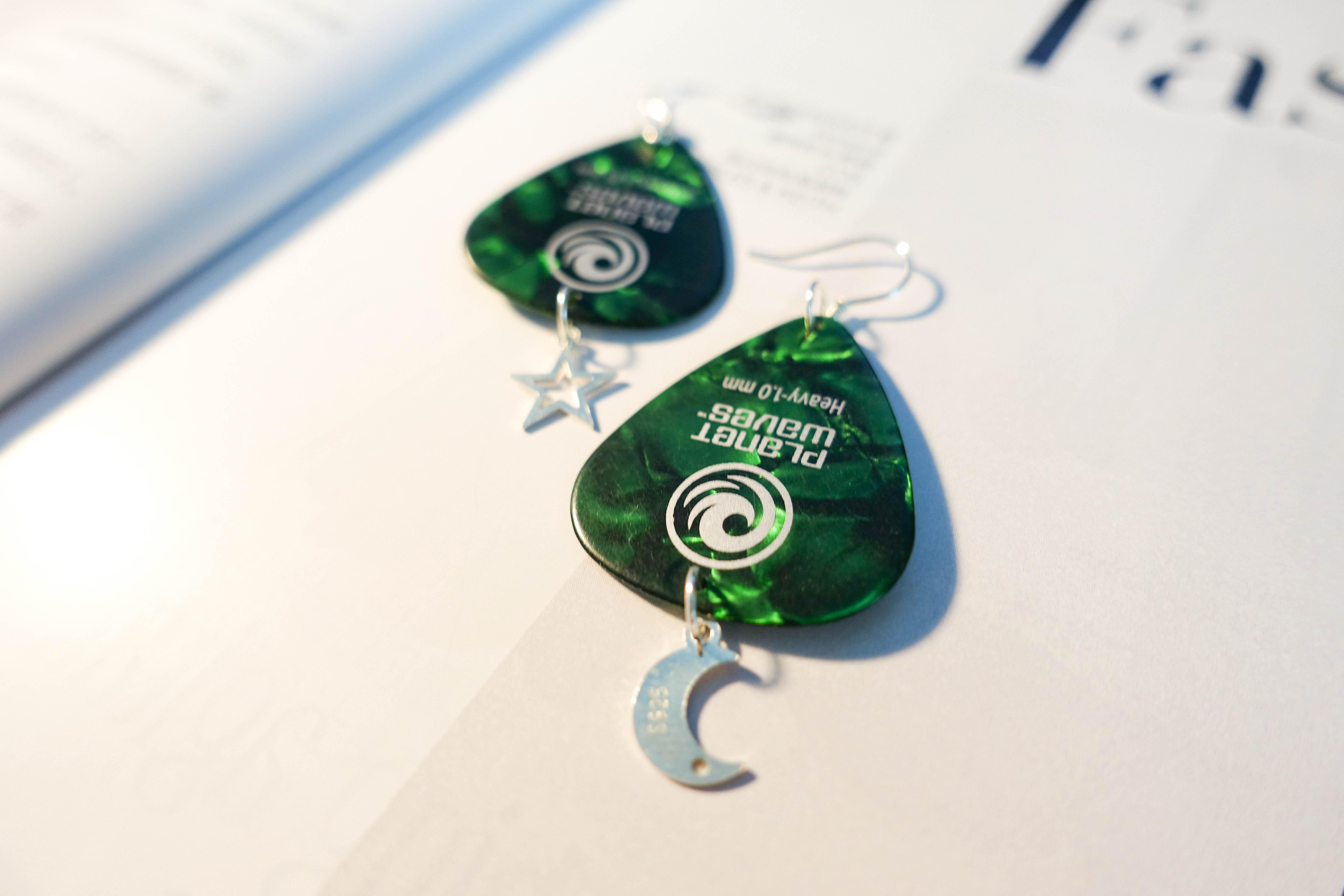 【牙口白商店】planet waves绿色拨片独家原创ins款925银手工耳环