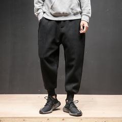 春装中国风宽松立体线条加绒厚毛呢休闲裤男哈伦裤束脚裤K211/P65
