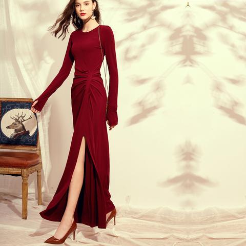 春秋2020新款连衣裙打底复古女装时尚酒红色气质显瘦针织裙子内搭