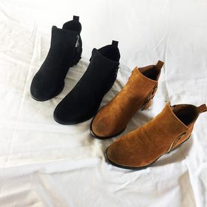 秋冬原单牛货!英伦复古女靴拉链磨砂皮短靴做旧擦色粗跟短筒靴