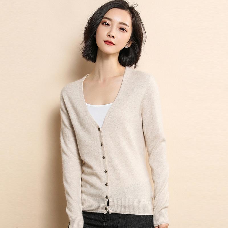雪都娇阳春秋新款羊毛开衫女修身套头短款毛衣打底针织衫