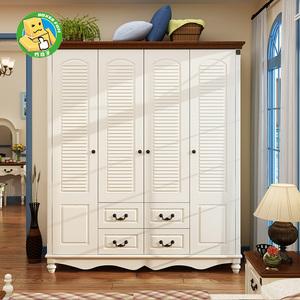 地中海实木两门四门五门衣柜美式乡村卧室大空间储物衣柜欧式衣橱