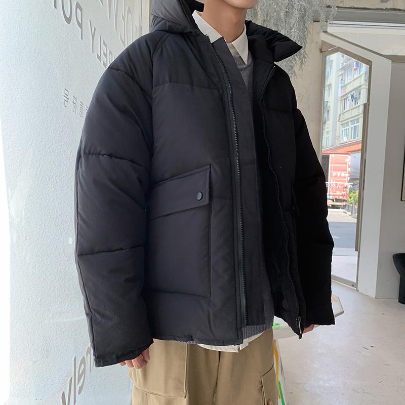 日系复古连帽棉衣男秋冬保暖加厚休闲棉服外套工装棉袄面包服