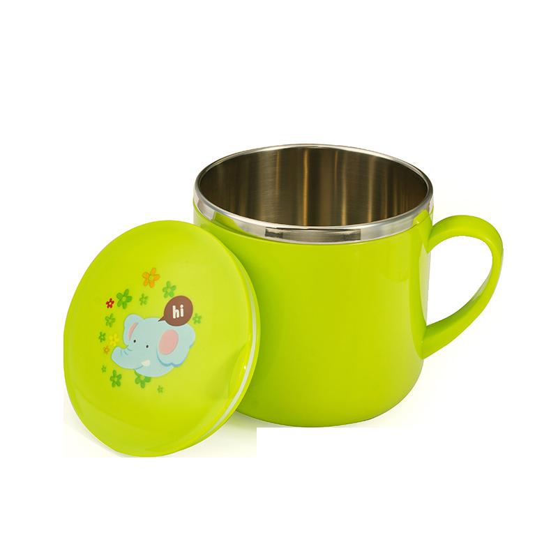 蔓葆兒童防燙不鏽鋼餐具 水杯卡通口杯手柄帶蓋嬰幼兒寶寶杯子