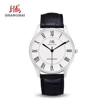 上海牌手表国产男女对表防水腕表皮表带进口机芯石英表