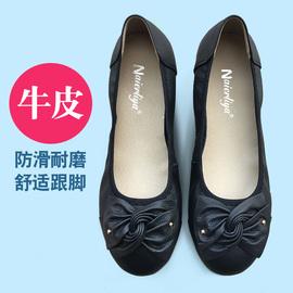 秋季真皮妈妈鞋软底平跟女单鞋女鞋蝴蝶结休闲鞋平底中年舒适皮鞋