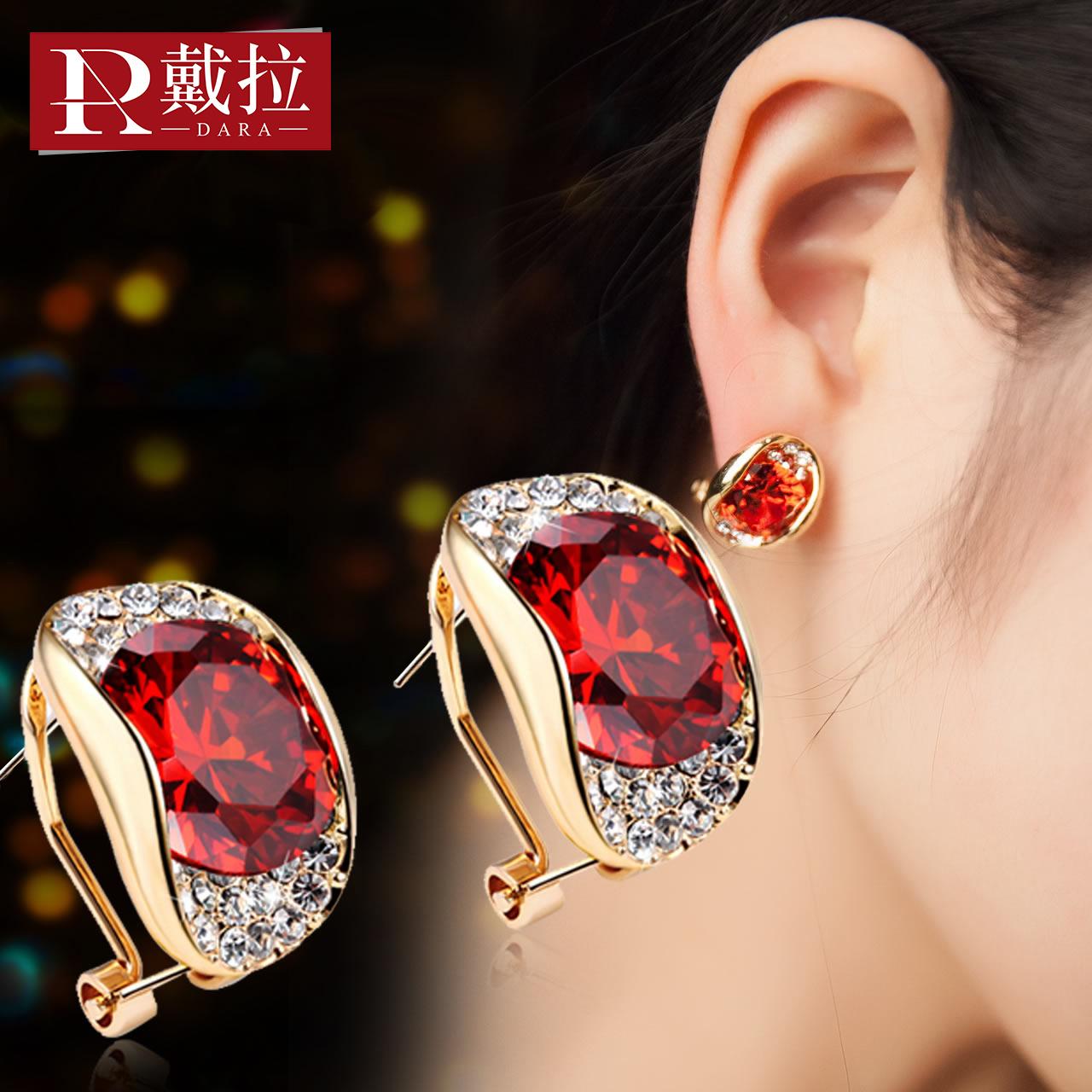 戴拉饰品 s925银针时尚气质耳钉女 OL几何耳环韩版装饰耳扣耳夹