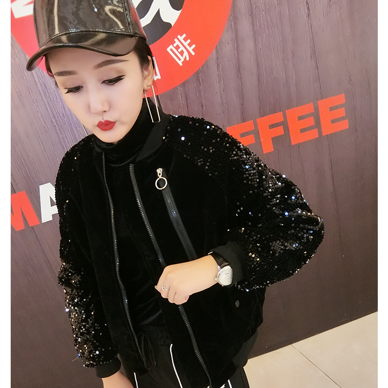 Winter 2020 new Sequin thickened cotton jacket womens loose fashion brand Black Baseball suit velvet jacket