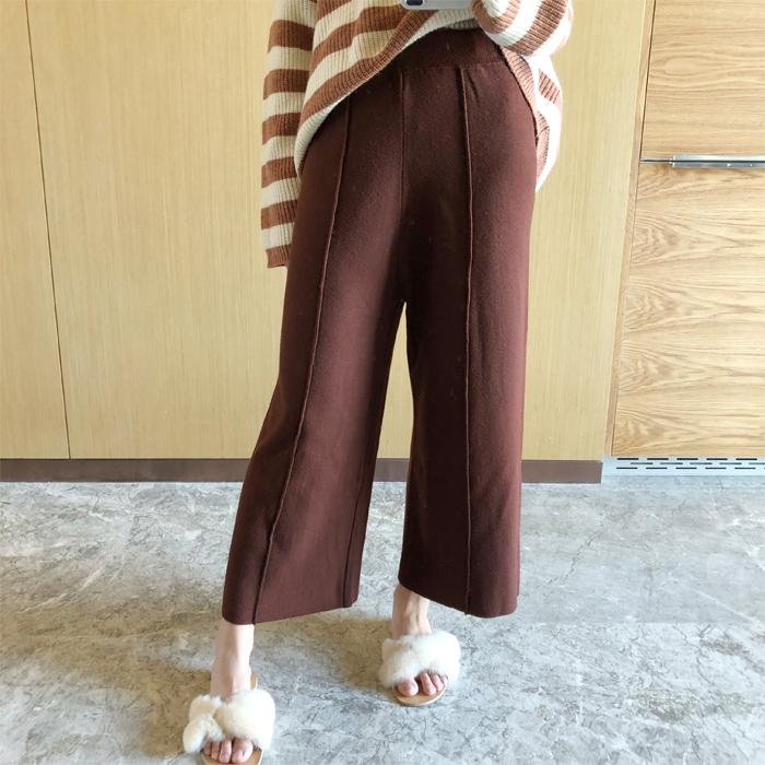 韩版柔软质感包芯纱纯色立体经线高腰显瘦阔腿裤冬百搭九分针织裤