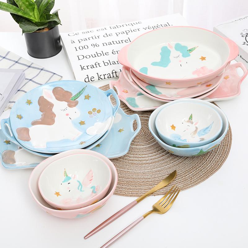 【木鱼食器】卡通儿童饭碗饭盘独角兽釉下彩陶瓷餐盘可爱创意盘子