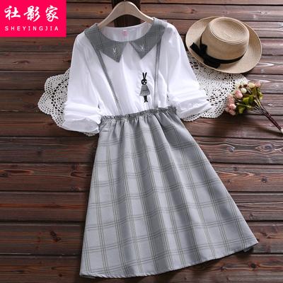 2020春秋装新款小清新长袖连衣裙少女初中学生可爱绣花假两件裙子