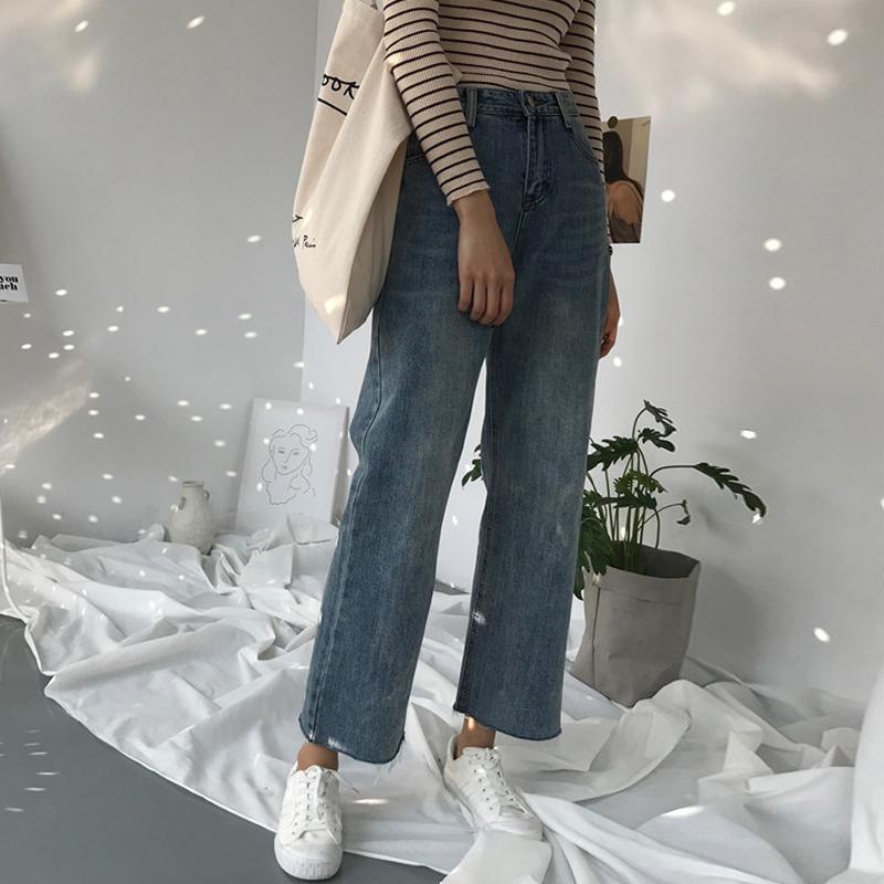 复古韩版新款女装秋冬季做旧牛仔裤高腰宽松阔腿裤宽松喇叭九分裤图片