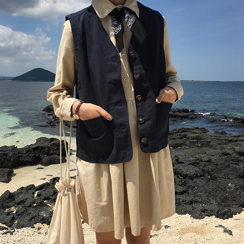 秋季新款无袖背心马甲女学生工装外套韩版chic宽松单排扣上衣开衫
