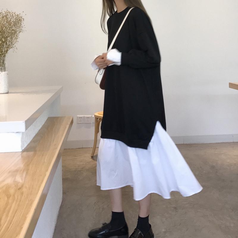 2019新款女装春装韩版学院风卫衣长裙拼接荷叶边假两件连衣裙女潮