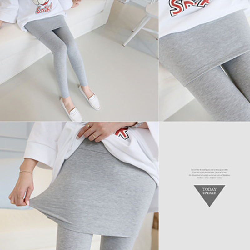 Pregnant womens buttocks and bottoms in summer thin modal comfortable elastic abdominal pants fake two pieces of pregnant womens pants for summer