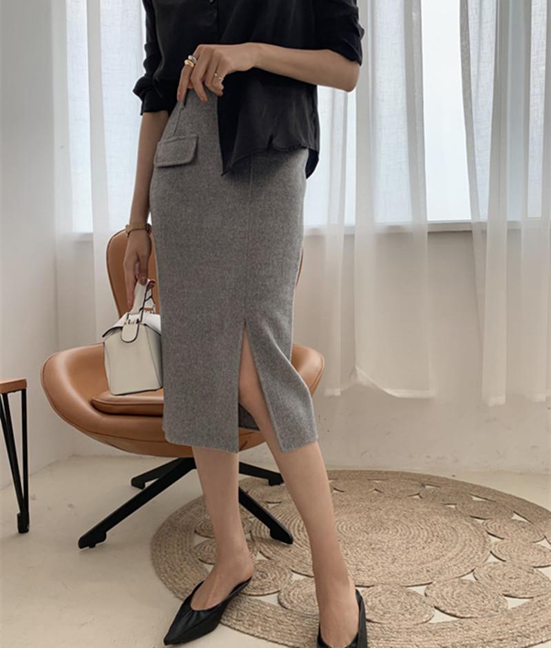 岛国精品系列 修身羊毛双面呢过膝腰裙 半身裙(配精致腰带)