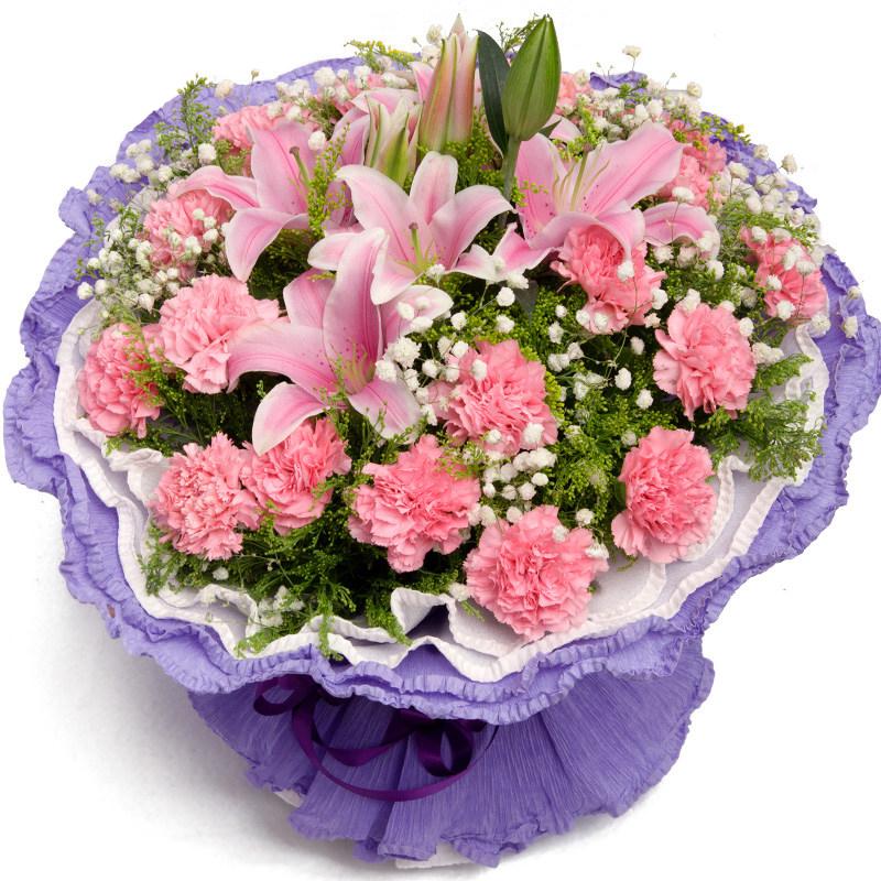 生日濮阳康乃馨百合花束礼盒杭州鲜花速递全国同城华龙南乐送花店