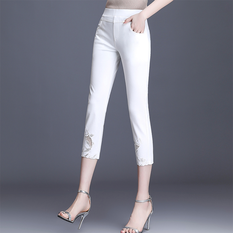 Womens high waist slim elastic casual mom summer thin style wear hollow out white pants new style