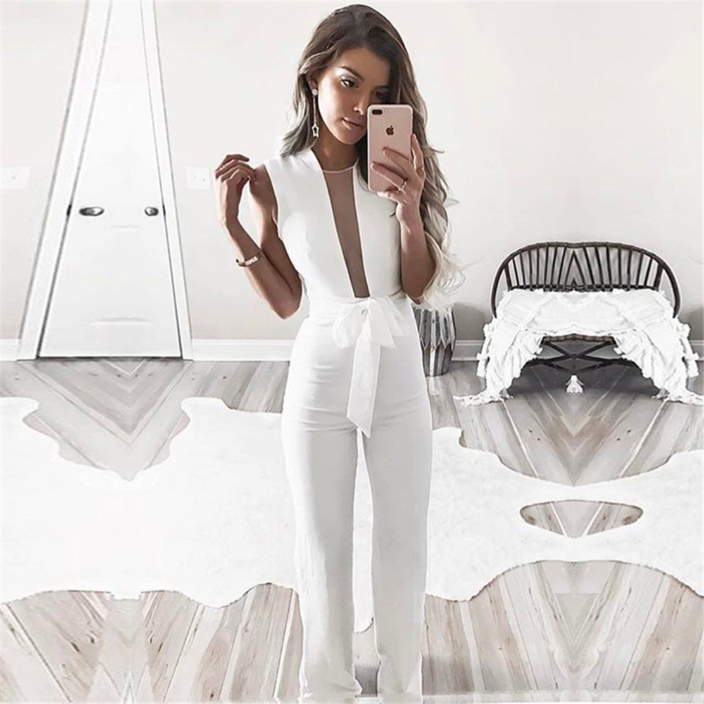 Womens White Jumpsuit Sleeveless Skinny Overalls Summer