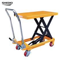 Sheng Sculpture simple removable trolley manual hydraulic lifting platform car small handling truck lift