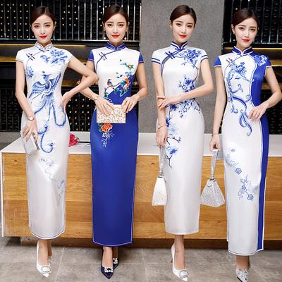 青花瓷真丝绸旗袍式连衣裙中长款夏季年轻款少女修身性感优雅气质