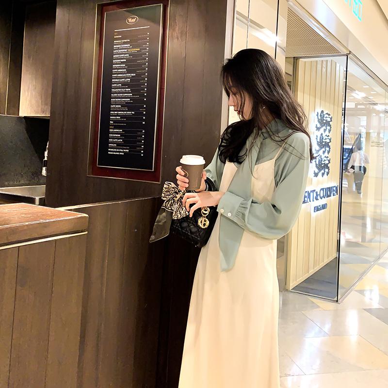詹维尼 白色吊带裙女2019初秋新款韩版露肩无袖连衣裙显瘦气质裙