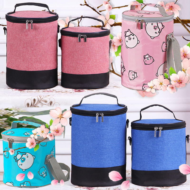 Lunch box bag thickened braise beaker heat preservation Bento round waterproof canvas portable students male and female large office workers