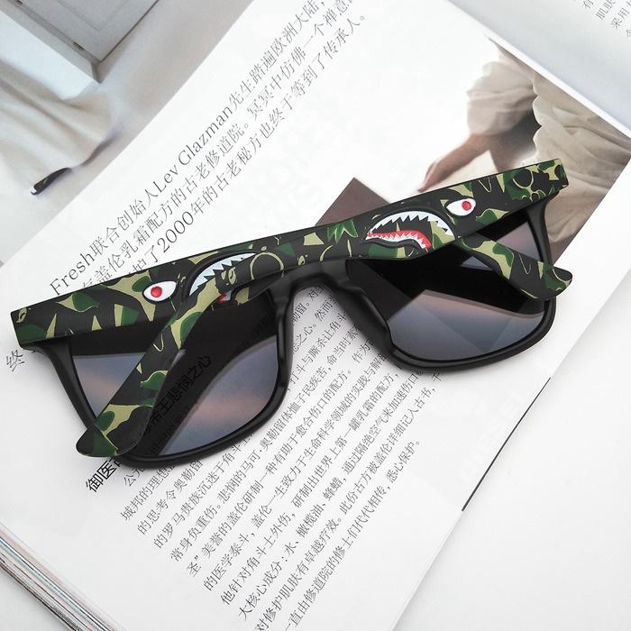嘻哈街头潮牌迷彩立体鲨鱼方框偏光太阳眼镜男女复古潮人墨镜开车