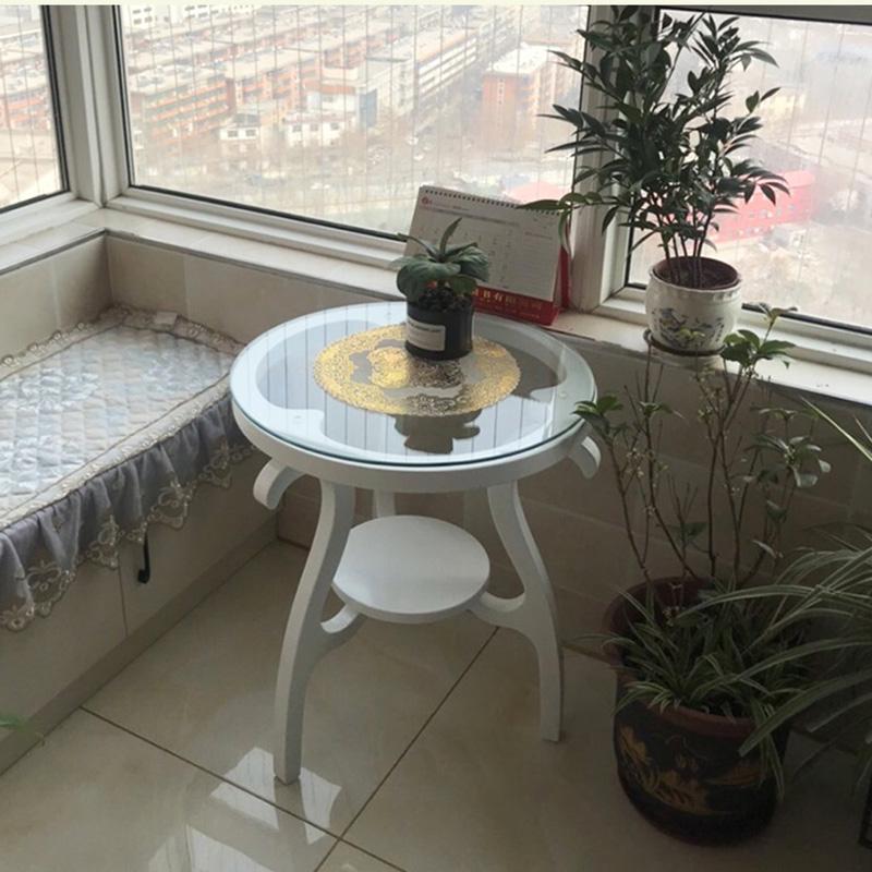 茶几小桌子小户型圆桌休闲角几咖啡桌圆形玻璃茶桌简约现代洽谈桌
