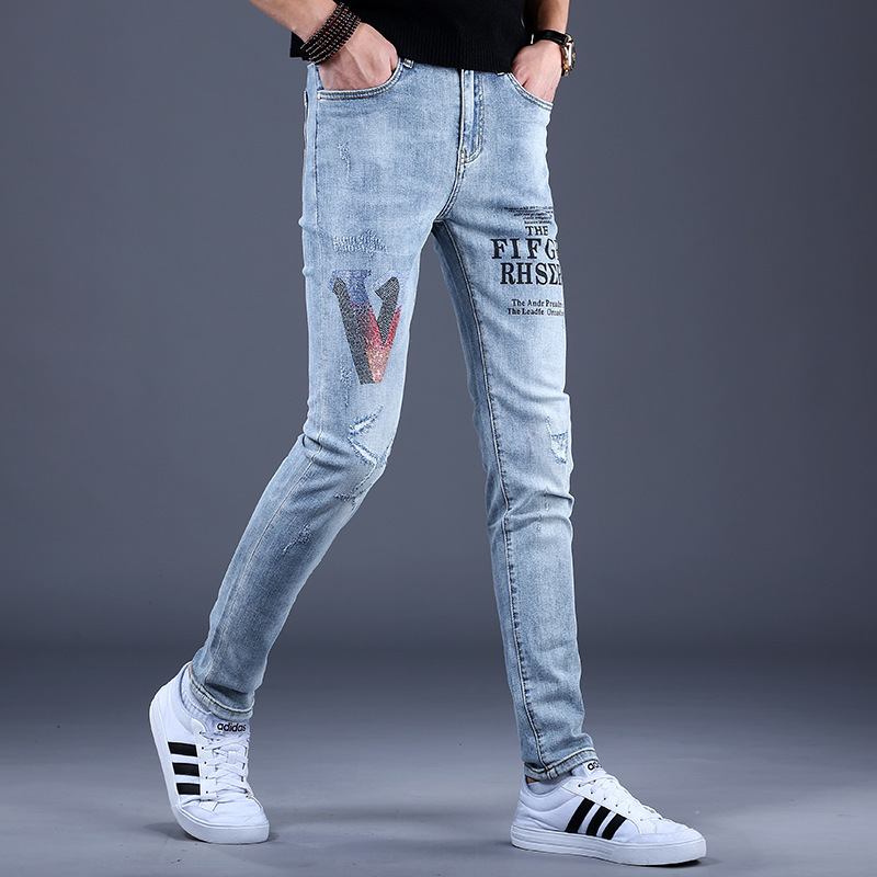Middle school students jeans mens try hole print midday pants trendy youth slim this year
