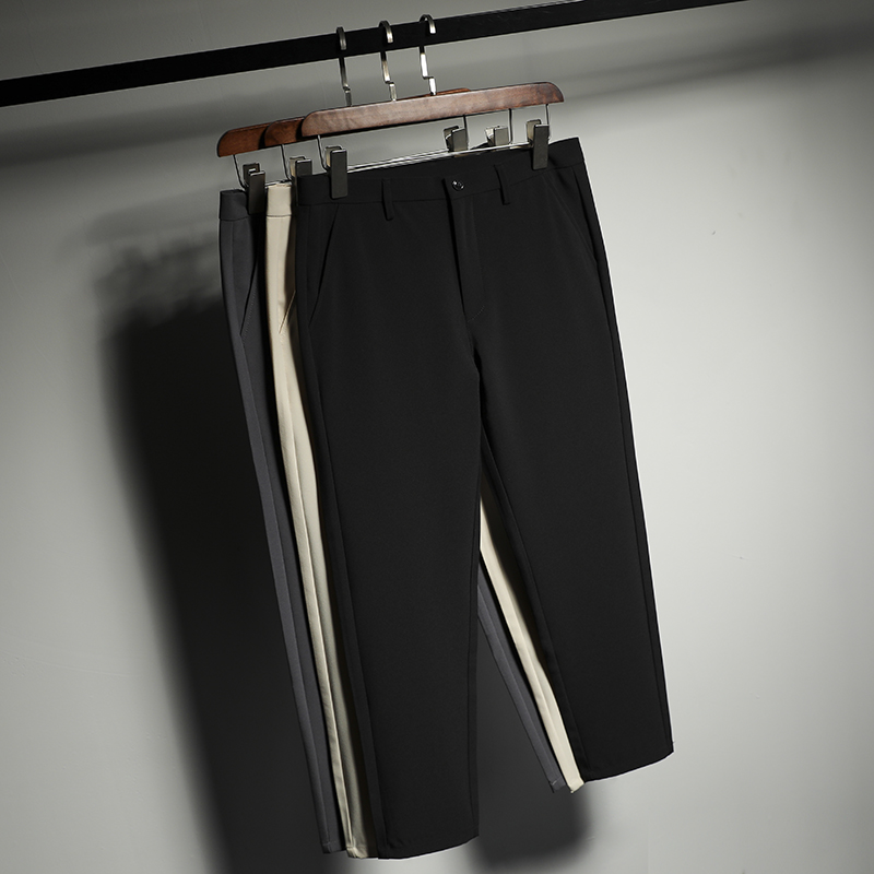 Autumn and winter Korean black 9-point casual straight suit pants for men