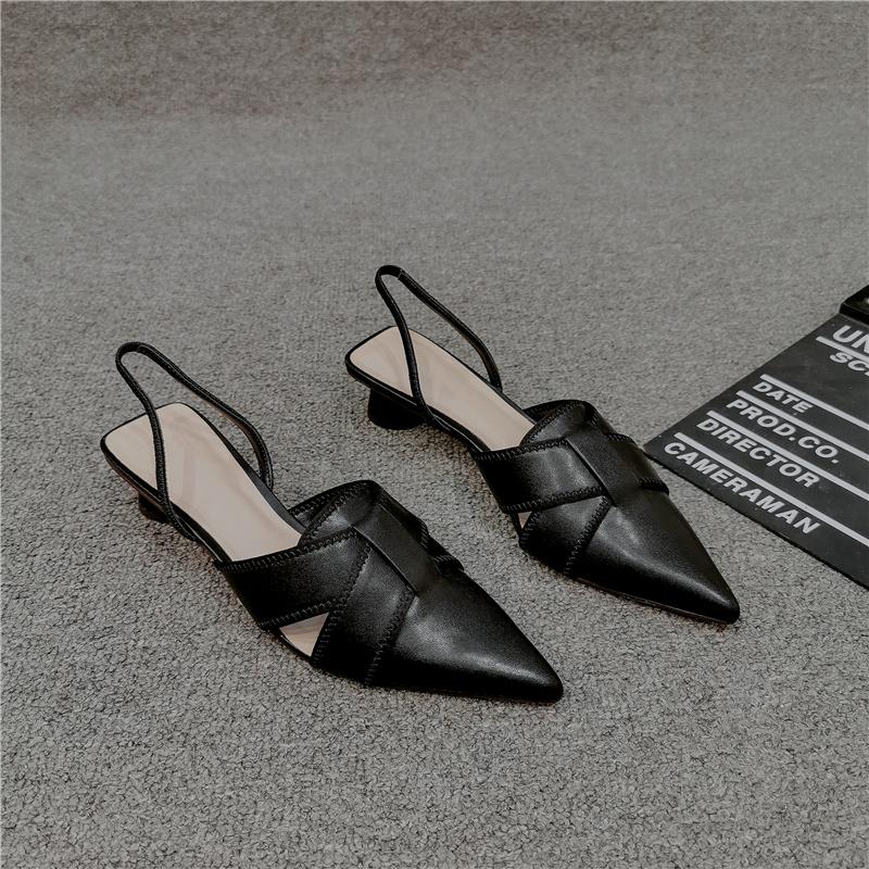 2021新款半包头凉鞋女仙女风真皮百搭中跟高跟鞋ins潮尖头粗跟鞋