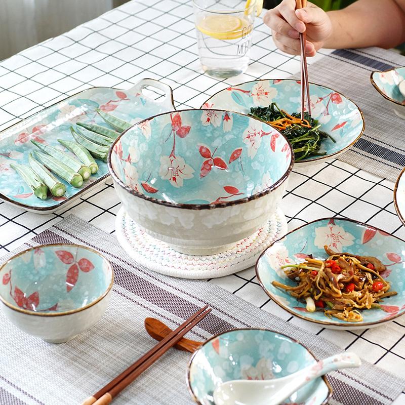限时2件3折日子里创意玉兰花陶瓷餐具釉米饭碗