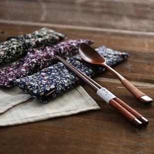 日子里木质便携筷子勺子木制餐具套装旅游筷勺三件套日式环保布袋