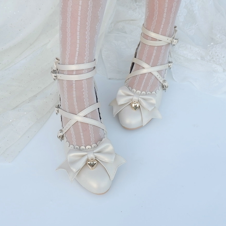 G1636 small heart full Yu sale of original bow tie strap Lolita round head womens shoes Love Pendant