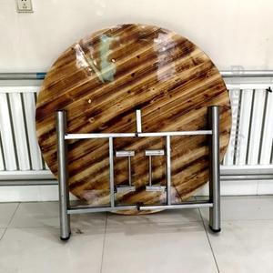 圆桌1米餐桌伸缩圆桌面折叠家用饭店饭桌实木圆形餐桌加转盘