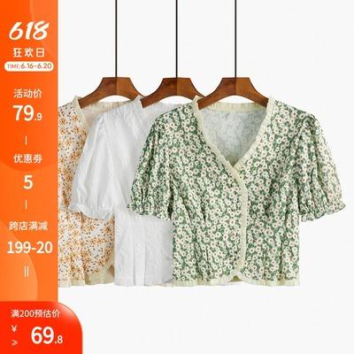 泡泡袖衬衫女短袖薄款夏季2021年新款设计感小众v领碎花短款上衣