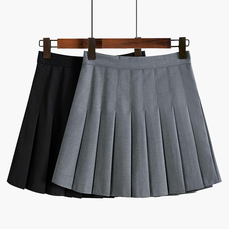百褶短裙女半身裙高腰a字显瘦2021春夏季新款百搭黑色西装裙子