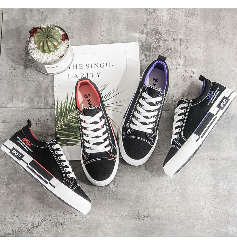 兴驰女鞋2019春季新款帆布鞋女韩版低帮休闲鞋学生百搭板鞋小黑鞋
