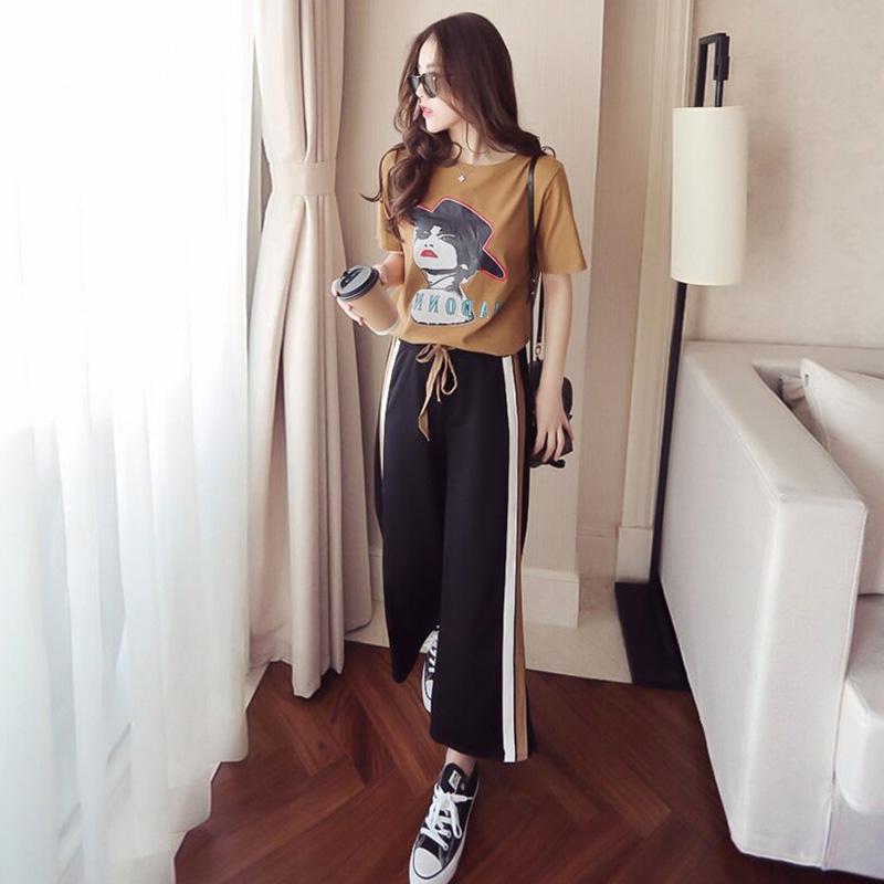 2018春秋季新款韩版运动服套装女圆领休闲短袖显瘦时尚两件套
