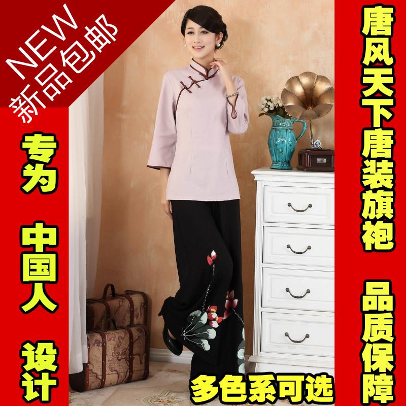 新款中国风女装春季传统文化棉麻唐装复古斜扣汉服居士服套装春装