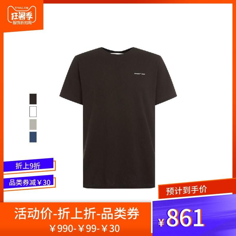 off white2019春夏多色圆领全棉LOGO字母男士简约百搭潮流短袖T恤