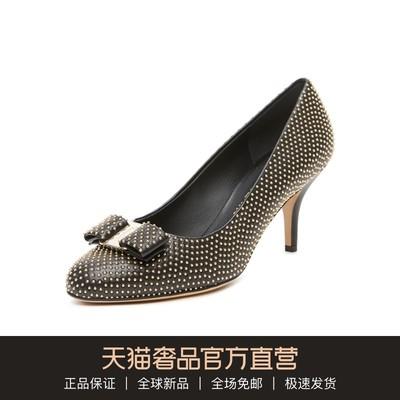 Ferragamo/菲拉格慕 多色羊皮钉珠蝴蝶结装饰优雅女鞋高跟鞋单鞋